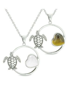 Amulets Cute Sea Turtles Love Couples Best Friends Set Heart White Cats Eye Tiger Eye Necklaces