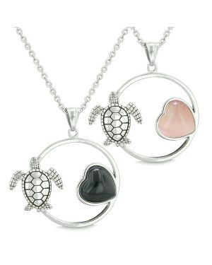 Amulets Love Couple or Best Friends Set Sea Turtles Lucky Charms Onyx Pink Cats Eye Necklaces