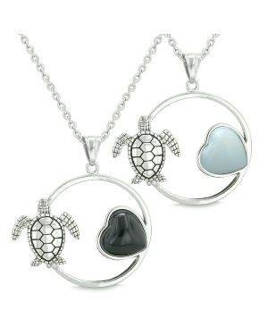 Amulets Cute Sea Turtles Love Couples or Best Friends Set Magic Heart Black Onyx Opalite Necklaces