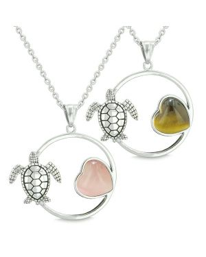 Amulets Cute Sea Turtles Love Couples Best Friends Set Heart Pink Cats Eye Tiger Eye Necklaces