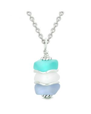 Sea Glass Icy Frosted Waves Aqua Blue Mist White Purple Positive Powers Amulet Pendant 22 Inch Necklace
