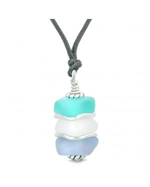 Sea Glass Icy Frosted Waves Aqua Blue Mist White Purple Positive Powers Amulet Pendant Adjustable Necklace