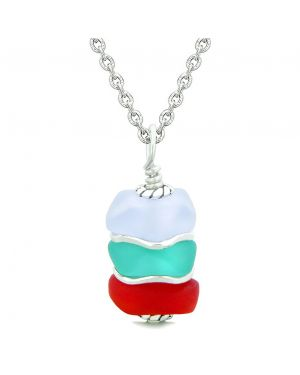Sea Glass Icy Frosted Waves Aqua Blue Purple Royal Red Positive Powers Amulet Pendant 22 Inch Necklace