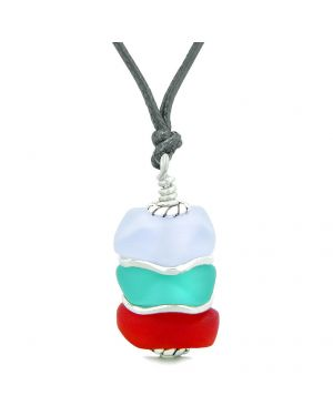 Sea Glass Icy Frosted Waves Aqua Blue Purple Royal Red Positive Powers Amulet Pendant Adjustable Necklace