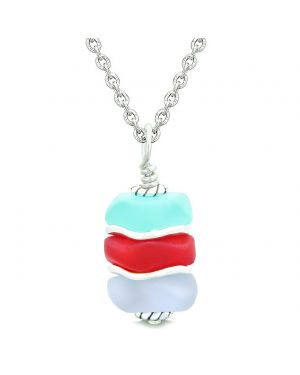 Sea Glass Icy Frosted Waves Aqua Blue Royal Red Purple Positive Powers Amulet Pendant 18 Inch Necklace