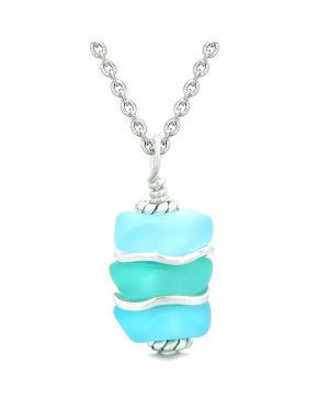 Sea Glass Icy Frosted Waves Aqua and Sky Blue Positive Powers Amulet Pendant 22 Inch Necklace