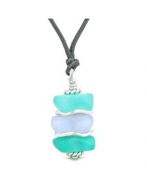 Sea Glass Icy Frosted Waves Aqua Blue Pastel Purple Positive Powers Amulet Pendant Adjustable Necklace