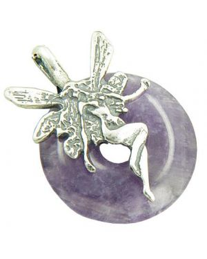 Fairy Angel Magic Protection Amulet Amethyst Silver Pendant