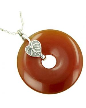 Lucky Leaf Protection Amulet Carnelian Silver Pendant Necklace