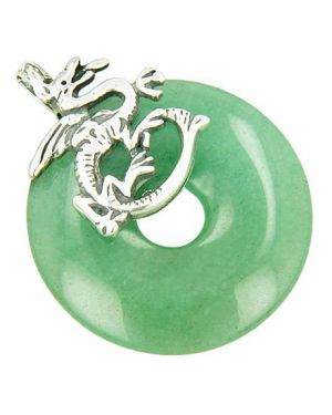 Dragon Money Magic Amulet Aventurine Gemstone Silver Pendant