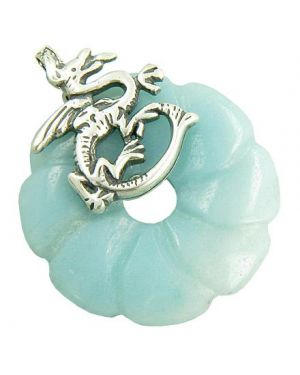 Dragon Good Luck Magic Amulet Amazonite Gemstone Silver Pendant