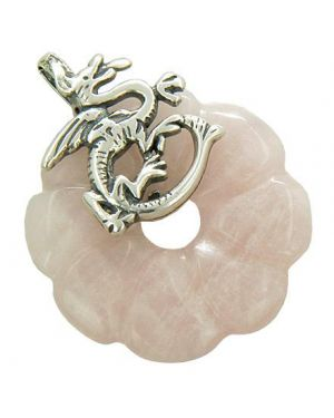 Dragon Love Magic Amulet Rose Quartz Gemstone Silver Pendant