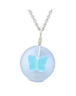 Lucky Butterfly Sea Glass Donut Positive Energy Amulet Purple and Sky Blue Pendant 18 Inch Necklace