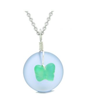 Lucky Butterfly Sea Glass Donut Positive Energy Amulet Purple Neon Green Pendant 18 Inch Necklace