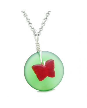 Lucky Butterfly Sea Glass Donut Positive Energy Amulet Forest Green and Red Pendant 18 Inch Necklace