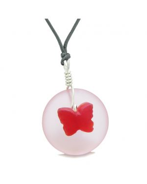 Lucky Butterfly Sea Glass Donut Positive Energy Amulet Royal Red Pink Pendant Adjustable Necklace