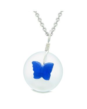 Lucky Butterfly Sea Glass Donut Positive Energy Amulet White and Ocean Blue Pendant 18 Inch Necklace