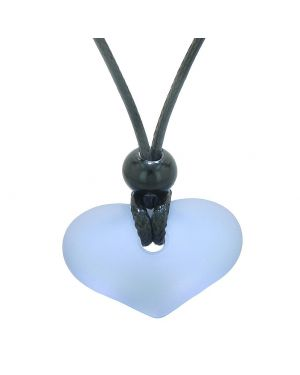Unique Puffy Heart Frosted Sea Glass Light Purple Positive and Life Powers Amulet Adjustable Necklace
