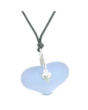 Unique Puffy Heart Frosted Sea Glass Light Purple Life and Positive Powers Amulet Adjustable Necklace