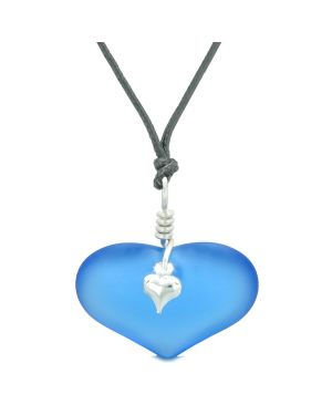 Unique Puffy Heart Frosted Sea Glass Cloud Blue Life and Positive Powers Amulet Adjustable Necklace