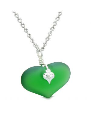 Unique Puffy Heart Frosted Sea Glass Forest Green Life and Positive Powers Amulet 18 Inch Necklace