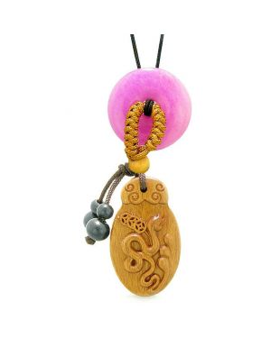 Magic Snake Fortune Car Charm Home Decor Hot Pink Quartz Lucky Coin Donut Protection Powers Amulet
