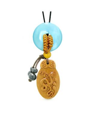 Magic Snake Fortune Car Charm Home Decor Blue Simulated Cats Eye Lucky Coin Donut Protection Amulet