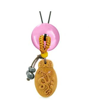 Magic Snake Fortune Car Charm Home Decor Pink Simulated Cats Eye Lucky Coin Donut Protection Amulet