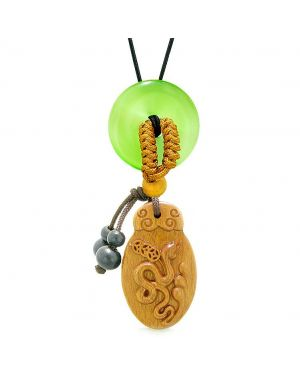 Magic Snake Fortune Car Charm Home Decor Green Simulated Cats Eye Lucky Coin Donut Amulet