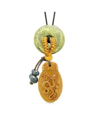 Magic Snake Fortune Car Charm Home Decor Golden Pyrite IrLucky Coin Donut Protection Powers Amulet