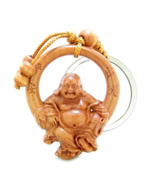 Amulet Happy Laughing Buddha Swinging in Wheel of Fortune Feng Shui Symbols Keychain Blessing