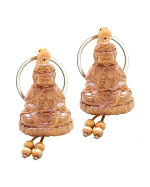 Amulet Praying Kwan Yin Quan Sitting Over Lotus Lucky Charm Feng Shui Symbols Keychain Set Blessings