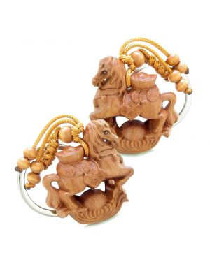 Amulet Fortune Horse Caring Lucky Wulu and Magic Coins Charms Feng Shui Symbols Keychain Set Blessings