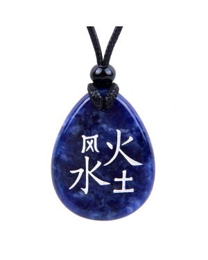 Powers of Life Kanji Elements Air Fire Water Earth Amulet Sodalite Wish Totem Gemstone Necklace Pendant