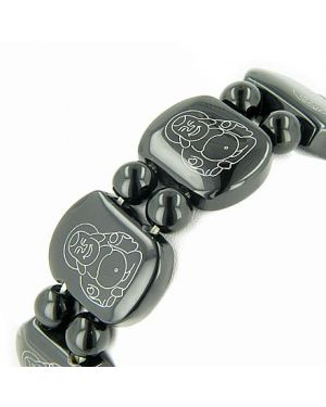 Good Luck And Protection Buddha Bracelet In Black Onyx