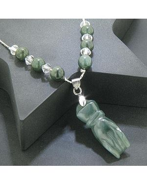 Money Talisman Swarovski Elements Unique jade Lucky Hand Necklace