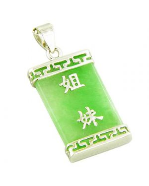 Amulet Good Fortune Lucky Green Jade 925 Silver Pendant