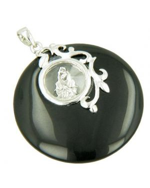Amulet Circle Spinning Happy Buddha in Black Onyx Silver Pendant