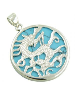 Amulet Dragon Turquoise 925 Sterling Silver Pendant