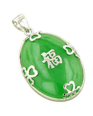 Amulet Good Luck And Wealth Green Jade 925 Silver Pendant