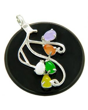 Amulet Good Luck Colorful Flower Jade Sterling Silver Pendant