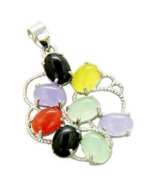 Amulet Good Luck Rainbow Flower Jade 925 Silver Pendant