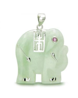 Amulet Elephant Good Luck Green Jade 925 Silver Pendant