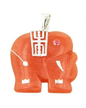 Amulet Elephant Good Luck Red Jade 925 Silver Pendant