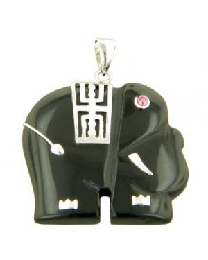 Amulet Elephant Good Luck Black Jade 925 Silver Pendant