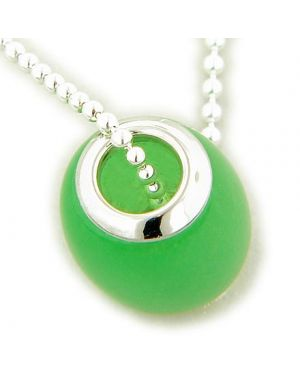 Amulet Good Luck Jade Green 925 Silver Charm Pendant
