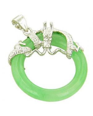 Amulet Good Luck Dragon Circle Green Jade 925 Silver Pendant