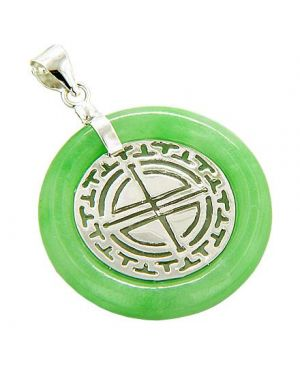 Amulet Good Luck Labyrinth Circle Jade 925 Silver Pendant