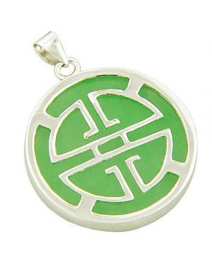Amulet Good Luck Green Jade Labyrinth 925 Silver Pendant