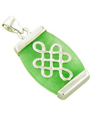 Amulet Protection Celtic Knot Green Jade 925 Silver Pendant